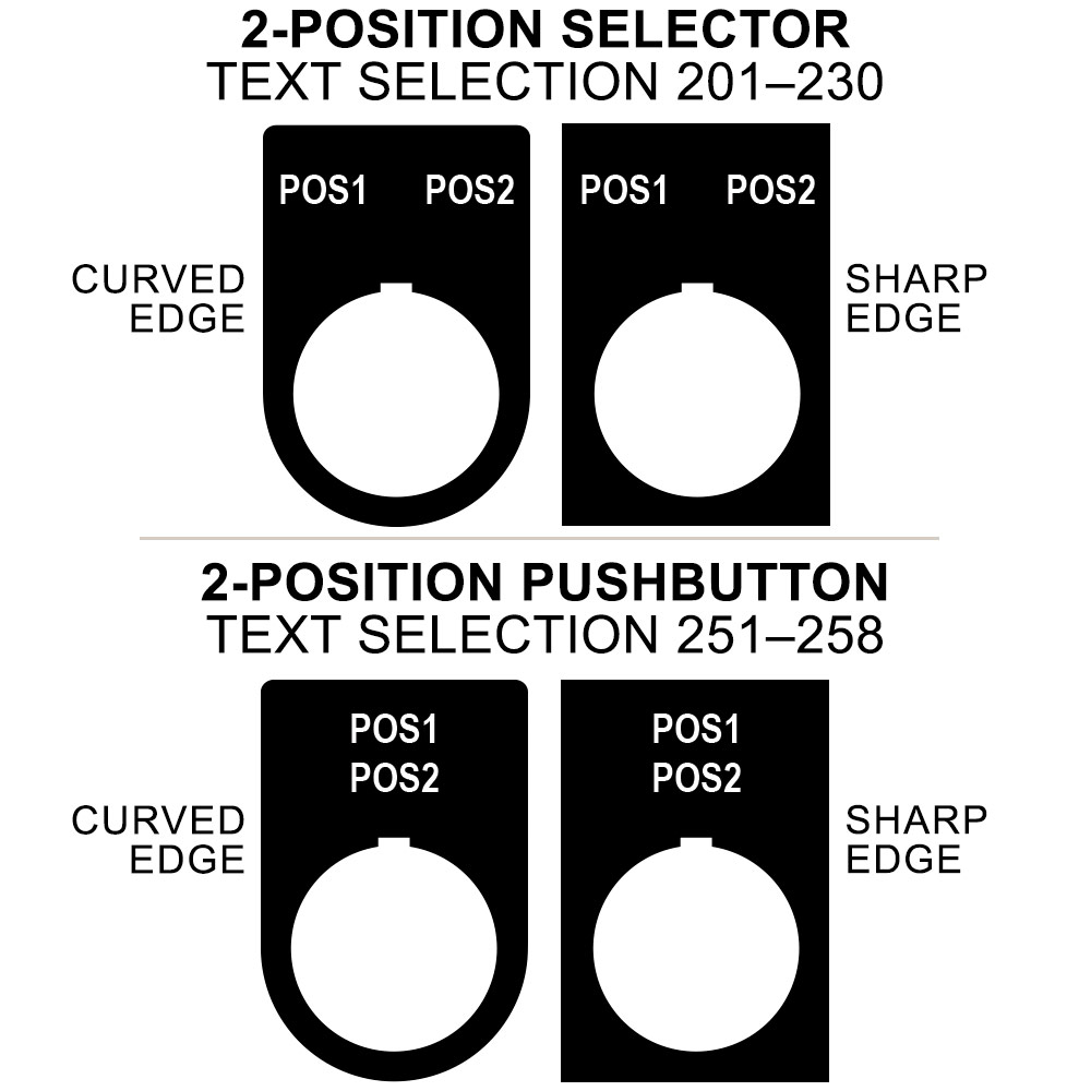 22LP2, 22mm Legend Plate Only, 2-Position Selector or