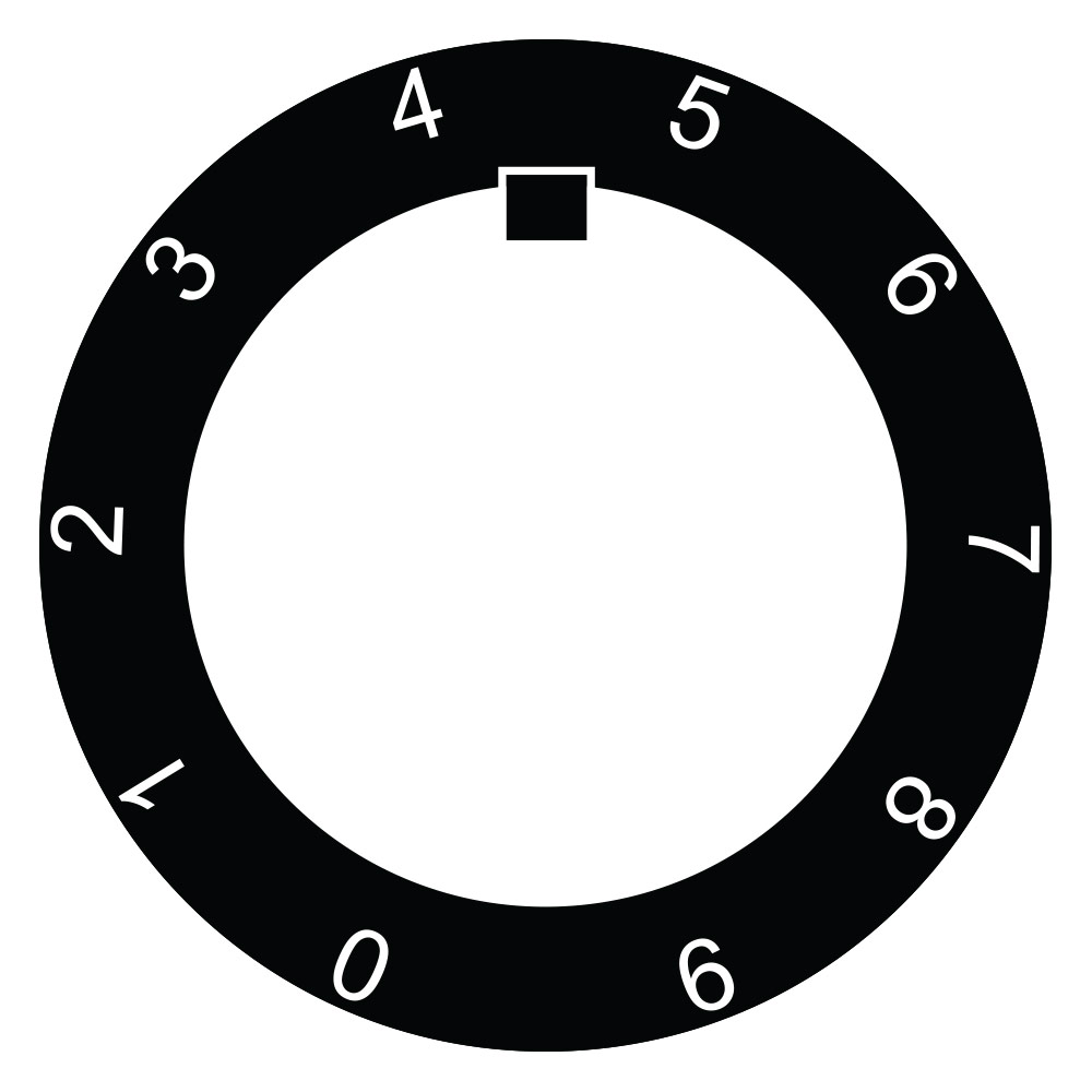 30mm Potentiometer Legend Plate Black,0-9