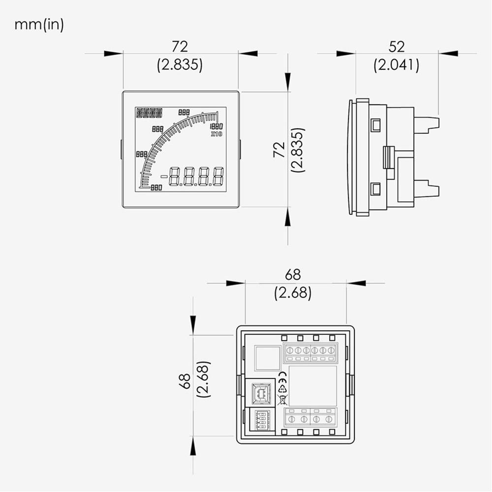 PML-AVF2-7NA, Multi Meter, 100-240 VAC Supply, Input